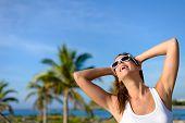Joyful Young Woman On Tropical Caribbean Travel