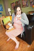 Barefoot Pregnant Lady Eating
