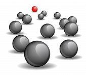 One red unique sphere lead crowd of black spheres