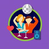 Vector illustration icon set of disco bar