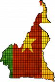 Cameroon map with flag inside