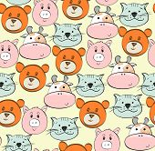 foto of cute animal face  - Vector seamless  pattern with cartoon animal face - JPG