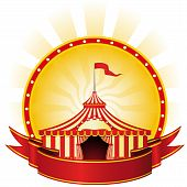 foto of circus tent  - Advertising poster with banner and Big Top Circus - JPG