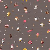 Pattern of modern flat design coffee-shop, cafe and bakery icons