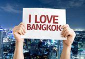 I Love Bangkok card with Bangkok night background