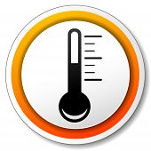 pic of fahrenheit thermometer  - illustration of orange and white icon for thermometer - JPG
