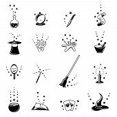stock photo of broom  - Vector magic icons set - JPG