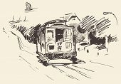 stock photo of tram  - Street with tram vintage engraved illustration hand drawn sketch - JPG