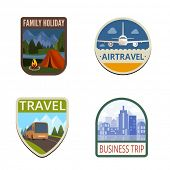 picture of tent  - Travel Vintage Labels vector icon design collection - JPG