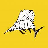stock photo of swordfish  - Swordfish Doodle - JPG