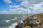 pic of wind-farm  - Wind farm in water along a dike in spring - JPG