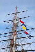 stock photo of mast  - Upwards view of the old ship - JPG