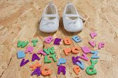 pic of born  - Baby card concept of new born baby with shoes - JPG