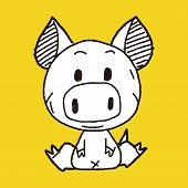 picture of chinese zodiac  - Chinese Zodiac Pig Doodle Drawing - JPG