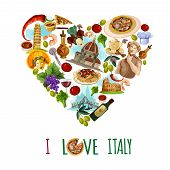 pic of olive shaped  - Italy poster with cartoon touristic landmarks in heart shape vector illustration - JPG