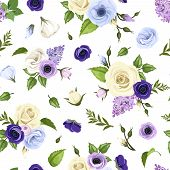 pic of purple rose  - Vector seamless pattern with blue - JPG
