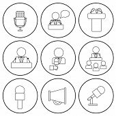 stock photo of minister  - Set of isolated thin line icons on public speaking theme with people - JPG