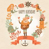 ������, ������: Lovely happy birthday card in vector Sweet inspirational card with lovely pirate with mermaid whal