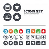 Wash icon. Not machine washable symbol. poster