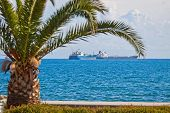 foto of lng  - Industrial ships in Mediterranean sea near Cyprus coast  - JPG