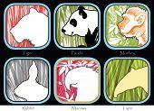 picture of tapir  - Symbol Tiger Monkey Panda Tapir Macaws Rabbit sign brochure pattern design Animal World Wide Life - JPG
