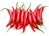 picture of chillies  - red chili or chilli cayenne pepper isolated on white  background cutout - JPG