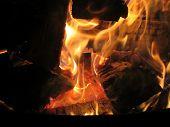 foto of bonfire  - Closeup of bonfire or campfire at campsite - JPG