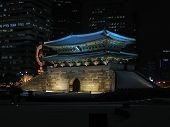 stock photo of seoul south korea  - the east big gate in seoul south korea lit up at night - JPG