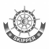 picture of rudder  - nautical label vintage rudder icon and design element - JPG