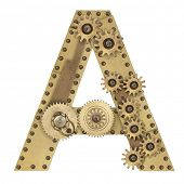 picture of steampunk  - Steampunk mechanical metal alphabet letter A - JPG
