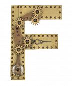 picture of steampunk  - Steampunk mechanical metal alphabet letter F - JPG