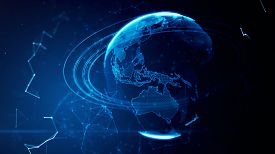 stock photo of globe  - 3d illustration of detailed virtual planet Earth - JPG