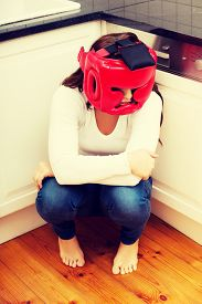 image of wife-beater  - Young woman in fear of domestic abuse - JPG