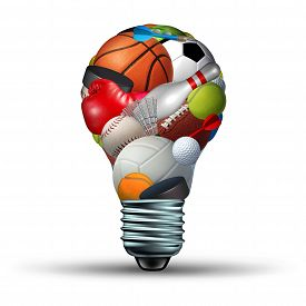 picture of physical education  - Sports activity ideas concept as a lightbulb shape on a white background with sports equipment as football soccer basketball boxing golf tennis as a symbol for physical fitness and exercise for a healthy leisure active lifestyle - JPG