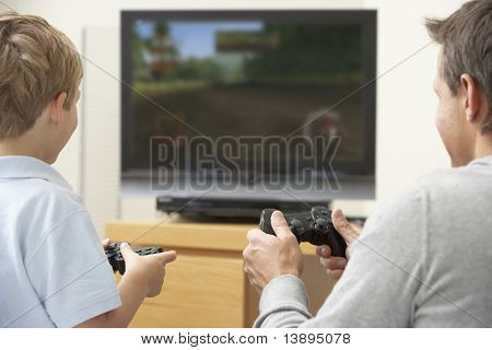poster of  Father And Young Son Playing With Game Console