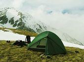 tent in mountain Oshten in Caucasus
