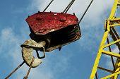 image of dnepropetrovsk  - Red crane on blue background - JPG