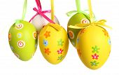Easter Eggs Painted, Isolated In White.