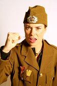 Military Woman With Fist In Anger poster