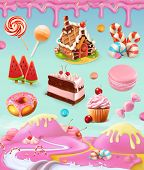 Confectionery and desserts, cake, cupcake, candy, lollipop, whipped cream, icing, set of vector grap poster