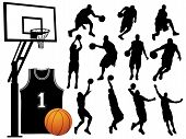 Basketball Players Silhouettes.Eps poster