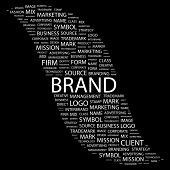 BRAND. Word collage on black background. Illustration with different association terms. poster