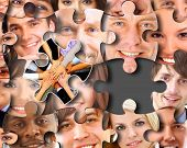 abstract puzzle-people background with one piece missing