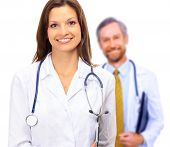 stock photo of male female  - Beautiful young doctor with stethoscope - JPG