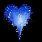 Blue on black heart
