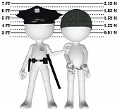 pic of police lineup  - Policeman holds 3D criminal in a lineup mugshot of cop and busted perp - JPG