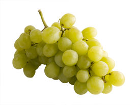 foto of wine grapes  - a close up on fresh white grapes isolated on a white background - JPG