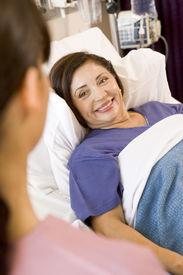 stock photo of hospital patient  - Nurse Talking To Patient - JPG