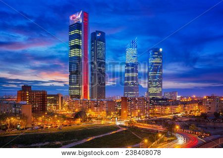 Madrid Spain Financial District Skyline
