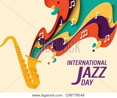 poster of International Jazz Day - Music Paper Cut Style Poster For Jazz Festival Or Night Blues Retro Party W